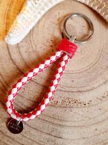 Porte-clés fantaisie bicolore rouge-blanc