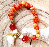 Bracelet corail pompon écru