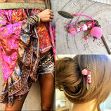 Pic à cheveux rose