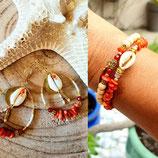 B.O.  créoles ovales corail et doré