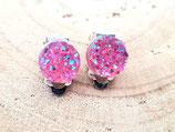 clips oreilles   résine façon cristaux pailletés rose translucide