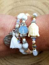 Bracelet MAMAQUILLA  en 3  tours blanc