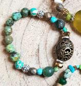 Bracelet  vert turquoise africaine et perle filigranée bronze # vert 5