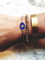 Bracelet chaine fine acier et médaillon ovale bleu