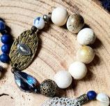 Bracelet estampe bronze et goutte cristal bleu