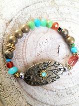 Bracelet couleurs automnales et plaque ovale bronze