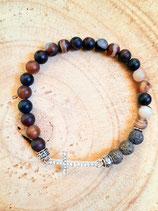 Bracelet agate lave et petite croix strassée #2