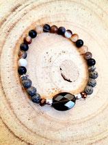 Bracelet agate café lave et ovale en quartz fumé 6MM