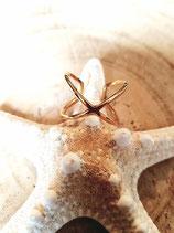 Bague croisée en acier doré inoxydable