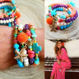 Bracelet MAMAQUILLA en 4 tours corail fluo et turquoise avec étoile de mer