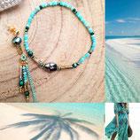 Bracelet scarabée cristal et camaieu vert eau