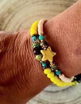 Bracelet MAMAQUILLA en 2 tours jaune