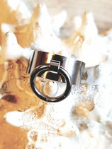 Bague anneau en  pampille acier inox argenté