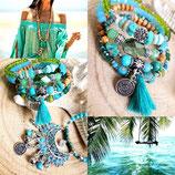 bracelet MAMAQUILLA en vert et turquoise