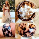 Bracelet acrylique façon leopard beige