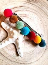 Grande barrette de pompons multicolors