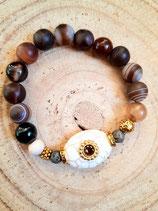 Bracelet agate café , métal doré et howlite ovale