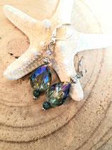 boucles d'oreilles en goutte de cristal bleu irisé