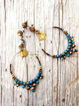 """Créoles ovales """" HAPPY SOUL""""  en bleu bronze et marron"""