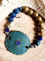Bracelet bleu bronze avec estampe vert de gris