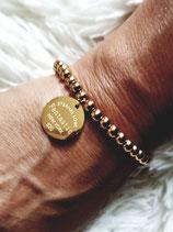 Bracelet perles acier inox doré et médaille