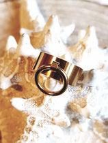 Bague anneau en  pampille acier inox doré