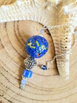 Pendule boule bleu incrustée #2