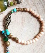 Bracelet  fin bois naturel , turquoise et bronze avec perle centrale filigranée bronze # vert 6
