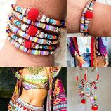 Bracelet MAMAQUILLA 2 tours rouge et multicolore