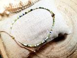 Bracelet fin miyuki ecru et vert