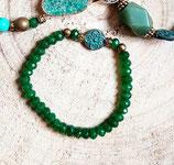 Bracelet de perles vert émeraude et perle vert de gris #3