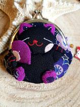 Porte-monnaie chat en relief -dominante noir et violet