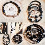 Bracelet  noir avec grande croix strassée