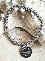 Bracelet perles acier inox argenté médaille