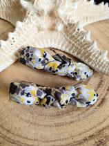 Barrette gris et jaune à fleurs  #6