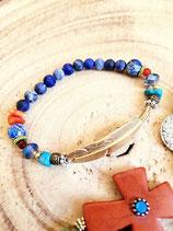 Bracelet  bleu plume doré pale et sodalite