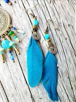 Boucles d'oreilles plume bleue