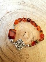 Bracelets de pierres naturelles cornaline et estampe en losange # terracotta 4