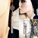 Boucles d'oreilles en métal argenté  fines avec longues chaînettes