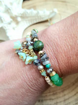 bracelet MAMAQUILLA fleurs vert opal en 2 tours
