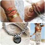 Bracelet perles acier inox doré 4MM