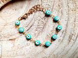 Bracelet fillette fantaisie oeil- turquoise