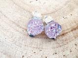 clips oreilles   résine façon cristaux pailletés rose tendre