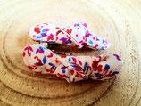 Barrette  à fleurs  rouge blanc bleu  #10