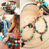 Boucles d'oreilles ovales turquoise et cuivre avec croix hématite bleue