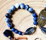 Bracelet sodalite et cristal faceté ovale bleu
