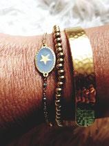 Bracelet chaine fine acier et médaillon ovale gris