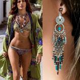 Boucles d'oreilles longues INDIANA bleu violet