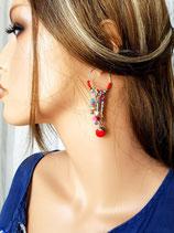 """Boucles d'oreilles """" ATHENA """" version rouge"""