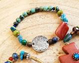 Bracelet  turquoise africaine et cornaline